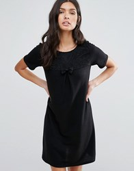 Pussycat London Shift Dress With Bow Front Black