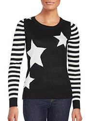 Saks Fifth Avenue Striped Sleeve Star Sweater Black White