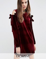 Reclaimed Vintage Velvet Dress With Extreme Bows Red