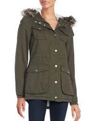 Bcbgeneration Faux Fur Trimmed And Lined Zip Front Coat Army