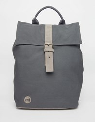 Mi Pac Canvas Fold Top Backpack In Charcoal Charcoal Grey
