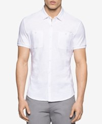 Calvin Klein Men's Heathered Short Sleeve Shirt White