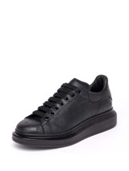 Alexander Mcqueen Texture Platform Calfskin Leather Low Top Sneakers Black