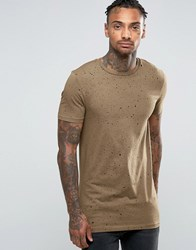 Asos Longline Muscle T Shirt With All Over Black Speckle Print Sand Dune Brown