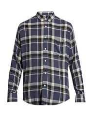 Ami Alexandre Mattiussi Long Sleeved Plaid Shirt Navy Multi