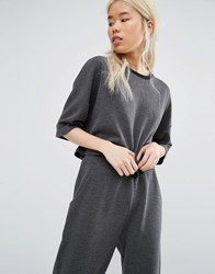 Native Youth Relaxed Boxy Crop Sweat Co Ord Grey