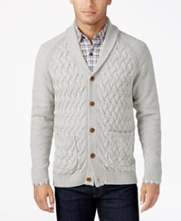 Tasso Elba Men's Textured Shawl Collar Cardigan Only At Macy's Light Grey Heather Combo