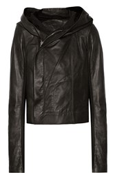 Rick Owens Wool Paneled Leather Hooded Biker Jacket Gray