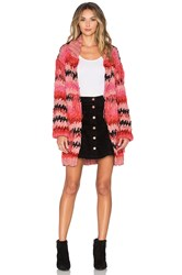 For Love And Lemons Crosby Fringe Cardigan Pink