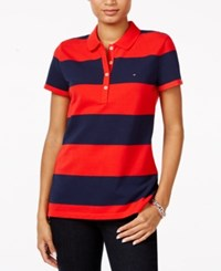 Tommy Hilfiger Rugby Striped Polo Top Racing Red