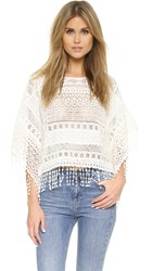 Alice Olivia Danette Embroidered Fringe Poncho Top Off White