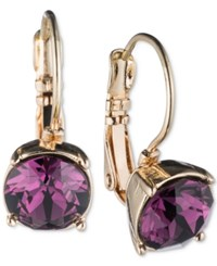 Nine West Gold Tone Purple Stone Drop Earrings