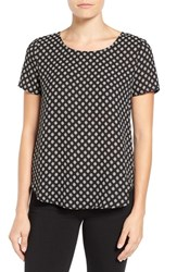 Pleione Women's Pleat Back Woven Print Top Black Ivory Sliced Circle