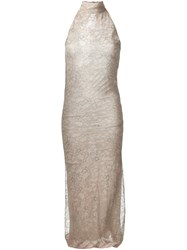 Romeo Gigli Vintage Lace Overlay Dress Nude And Neutrals