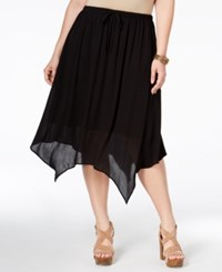 Stoosh Plus Size Handkerchief Hem Midi Skirt Black