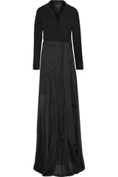 Jay Ahr Crepe And Embroidered Silk Gauze Gown Black