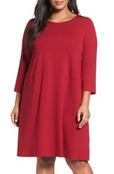 Eileen Fisher Plus Size Women's Jersey A Line Dress China Red