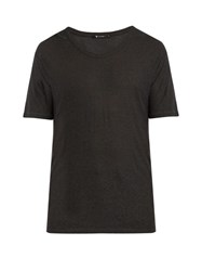 Alexander Wang Scoop Neck Slub Jersey T Shirt Charcoal