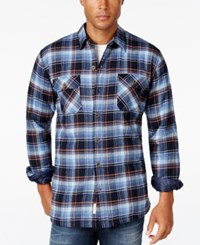 Weatherproof Vintage Men's Big And Tall Faux Fur Lined Plaid Flannel Shirt Jacket Only At Macy's Navy