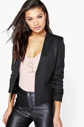 Boohoo Woven Lined Collarless Blazer Black