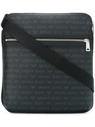 Armani Jeans Double Zipped Shoulder Bag Black