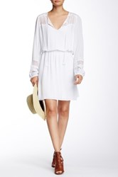 Daniel Rainn Long Sleeve Crochet Combo Peasant Dress White