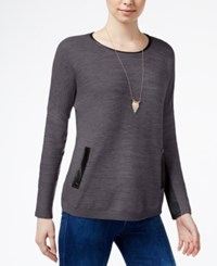 Amy Byer Bcx Juniors' Faux Leather Trim Sweater Dark Gray