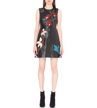 Red Valentino Floral Applique Leather Dress Nero