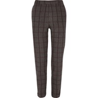 River Island Mens Grey Checked Cropped Skinny Suit Trousers