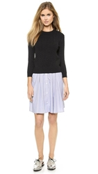 Band Of Outsiders Cable Sweater And Shirting Dress Black