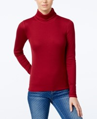 Planet Gold Juniors' Pullover Turtleneck Top Rumba Red