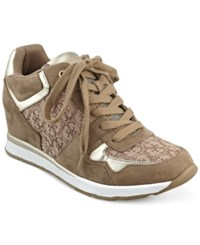 Guess Women's Laceyy Lace Up Wedge Sneakers Women's Shoes Natural Multi