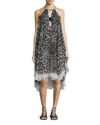 Milly Tahiti Brushstroke Print Halter Coverup Dress Black Pattern
