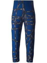 Hermes Vintage Logo Ribbon Print Leggings Blue