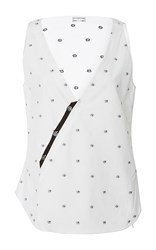 Alexis Mabille Bee Print V Neck Top White