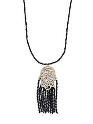 Natasha Beaded Tassel Hamsa Pendant Necklace Black