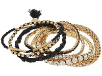 Guess Mixed Stretch Bangle Set Black Gold Crystal Bracelet