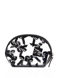 Saks Fifth Avenue Small Tossed Bow Cosmetic Case White Black