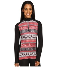 Hot Chillys Mtf Print Zip T Holiday Fever Black Women's Long Sleeve Pullover Multi