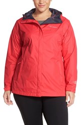 Plus Size Women's Columbia 'Arcadia' Hooded Waterproof Rain Jacket Bright Geranium
