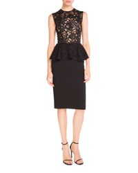 Saint Laurent Sleeveless Lace Peplum Pencil Dress Black