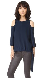 Tibi Cutout Sleeve Silk Blouse Midnight Navy