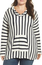 Vince Camuto Plus Size Women's Two By Stripe Seed Stitch Hoodie