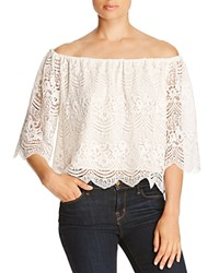 Cupcakes And Cashmere Dave Off The Shoulder Lace Blouse Dirty White