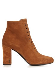 Saint Laurent Babies Lace Up Suede Ankle Boots Tan