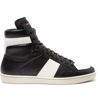 Saint Laurent Sl10 Leather High Top Sneakers Black