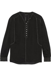 Isabel Marant Alivia Embellished Silk Georgette Blouse Black