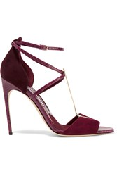 Brian Atwood Avice Elaphe And Suede Sandals Red