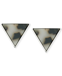 Guess Silver Tone Resin Triangle Stud Earrings