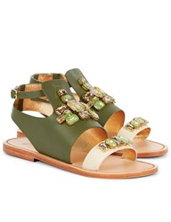 Sanchita Green Leather Tabasco Flat Sandals Print
